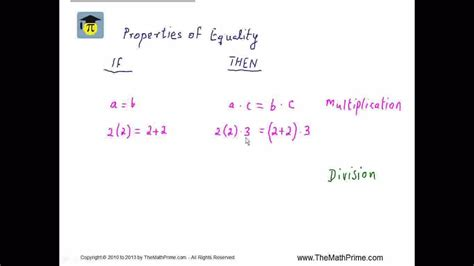 Properties of Equality 2 of 2 Multiplication, Division