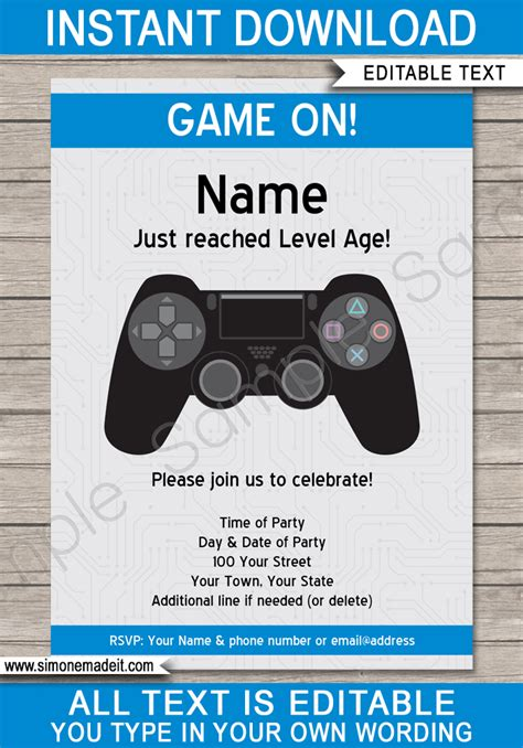 Playstation Birthday Party Invitations Template | Video