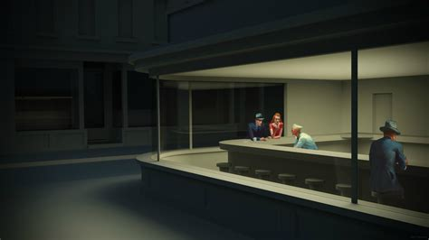 """PsBattle: 3D rendered depiction of """"Nighthawks"""" painting"""