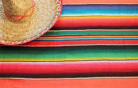 Traditional Mexican fiesta poncho rug in bright colors