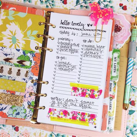 Daily To Do List Printable Personal Size Planner Insert